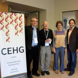 Gene Myers and CEHG Exec Committee members Marc Feldman, Chiara Sabatti, and Carlos Bustamante